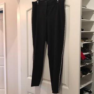 Black dress pants with pearls down the side